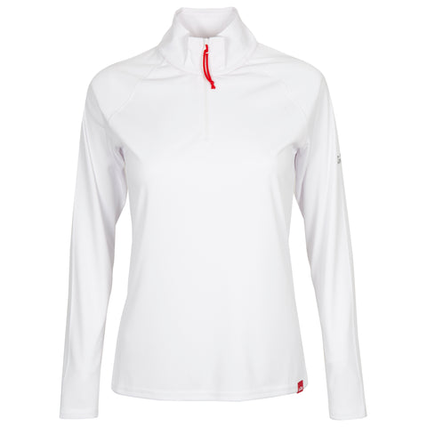 Women's UV Tec Long Sleeve Zip Tee - Size 10  ( MEDIUM ) LAST ONE  - WHITE