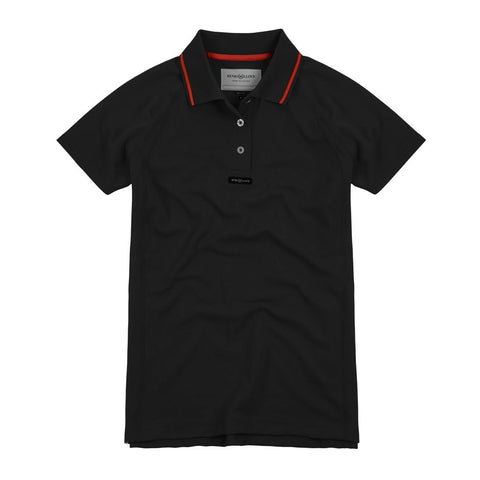 HENRI LLOYD FAST-DRI SILVER POLO WOMENS BLACK/RED STRIPE ON COLLAR - XSMALL ONLY - LAST ONES