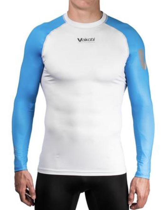 VAIKOBI VOCEAN LONG SLEEVE FITTED UV TOP- CYAN/ SILVER