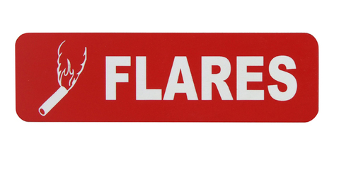 SAM ALLEN SAFETY LABEL - FLARES 100mm x 30mm 3M ADHESIVE