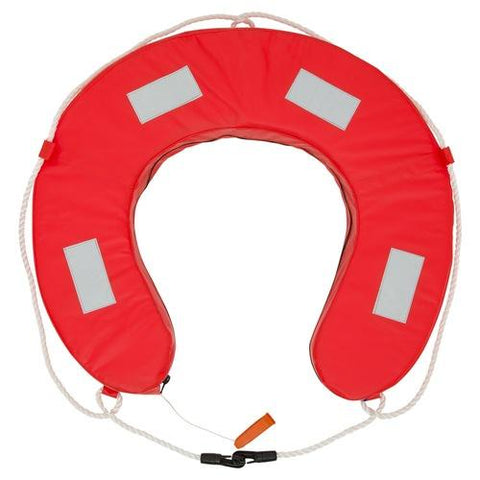 Horseshoe Lifebuoy YA Orange with reflective tape, whistle & grab loops