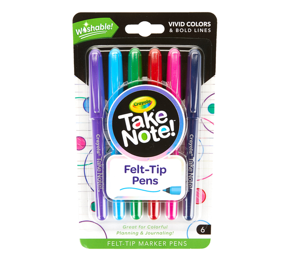 Crayola - Take Note Washable Felt Tip Pens