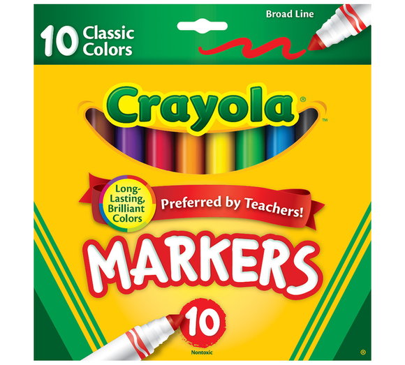 Crayola - Broad Line Markers, Classic Colors /10ш/