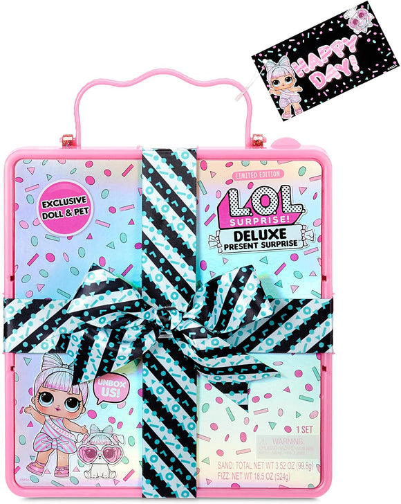 L.O.L. Surprise! Deluxe Present Surprise with Miss Partay Doll and Pet(Pink)