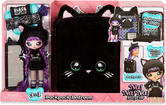 Na! Na! Na! Surprise - 3-in-1 Backpack Bedroom Black Kitty Playset