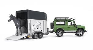 Bruder-Land Rover Defender St.Wagon with horse trailer and 1 horse