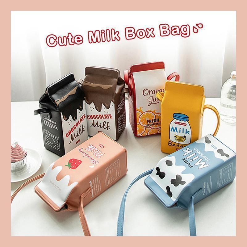 Merryferris™ Cute Milk Box Crossbody Bag / Casual Phone Purse