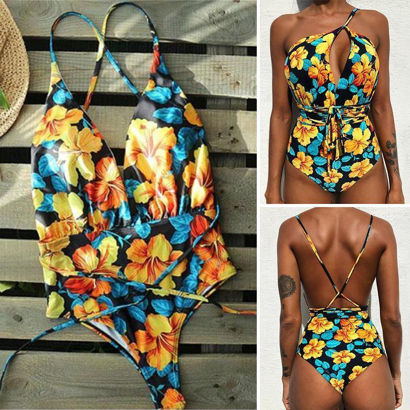 Women Multi-Flower Printed One Pieces Bikini