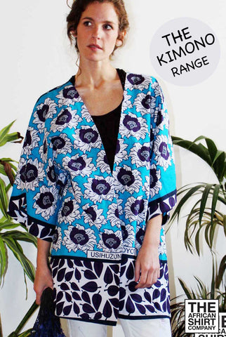 BLACKBERRY DAWN KIMONO  Turquoise blue base with rich purple cabbage pr... click for more information