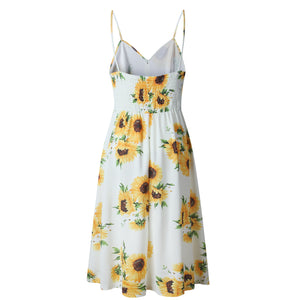 White Sunflower Print Dress