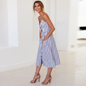 Wide Blue Strip Print Summer Dress