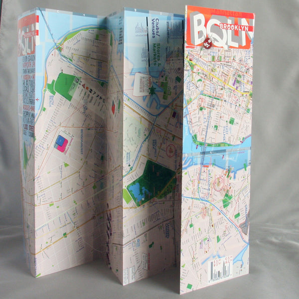 Map Laminated Brooklyn Manhattan Downtown - theaters - subway - transit - museums - streets - parks - restaurants