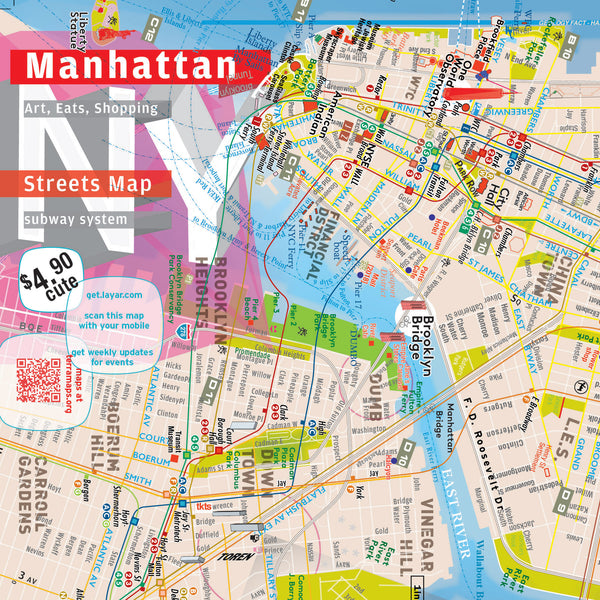 Manhattan Map - Laminated - Midtown Details - AR Augmented Reality