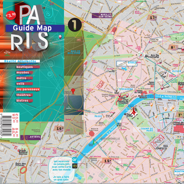 Pouch plus Map Guide Laminated Paris - Metro - Streets - Museums - Pocket