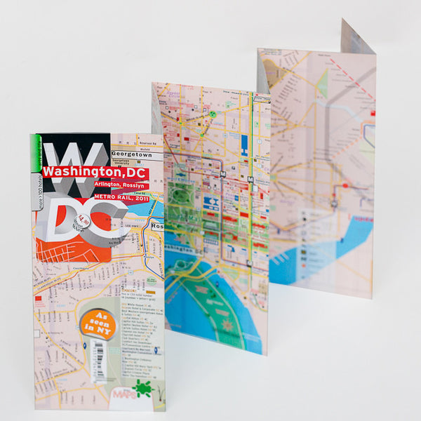 Map Laminated Washington DC WaterProof  - theaters - subway - transit - museums - streets - parks - restaurants
