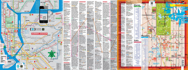 Pouch + Map Laminated Manhattan Downtown Midtown Maps POCKET new york - theaters - shops - subway - museums - streets - parks - restaurants
