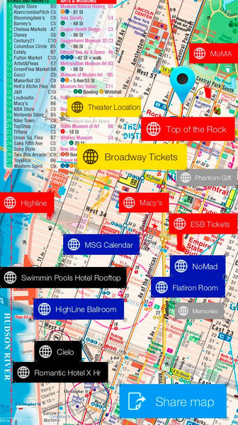 Manhattan Map - Laminated - Midtown Maps POCKET new york - theaters - shops - subway - museums - streets - parks - restaurants