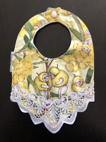 Yellow Gumnut Babies Lace Bib