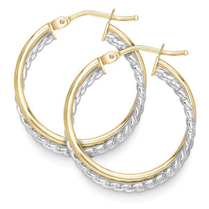 9ct Yellow & White Gold Hoop Earrings Leevans Jewellers Leeds Pawnbrokers