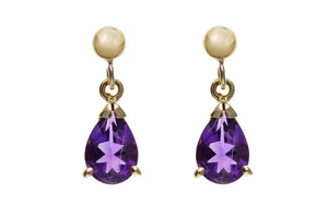 Yellow Gold Amethyst Earrings