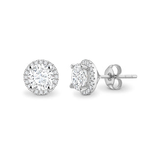 18ct White Gold Diamond Halo Earrings