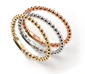 Three Coloured Gold Stacking Rings
