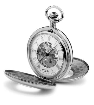 Rotary Skeleton Pocket Watch