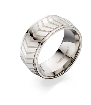 Men's Fred Bennett Stainless Steel Chevron Ring,R3567, Leevans Jewellers & Pawnbrokers