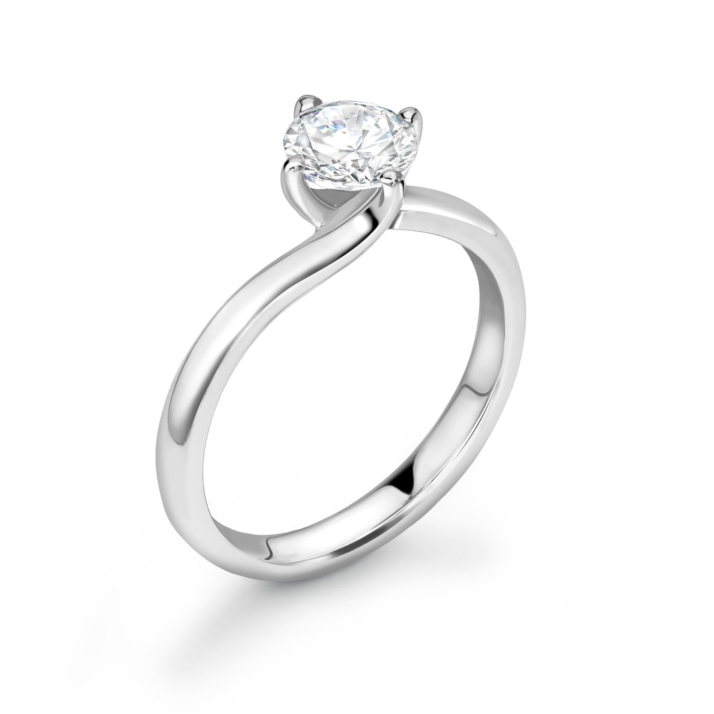 18ct White Gold Diamond  Twist Solitaire