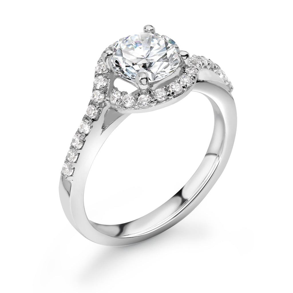 18ct White Gold Diamond Halo Twist Ring