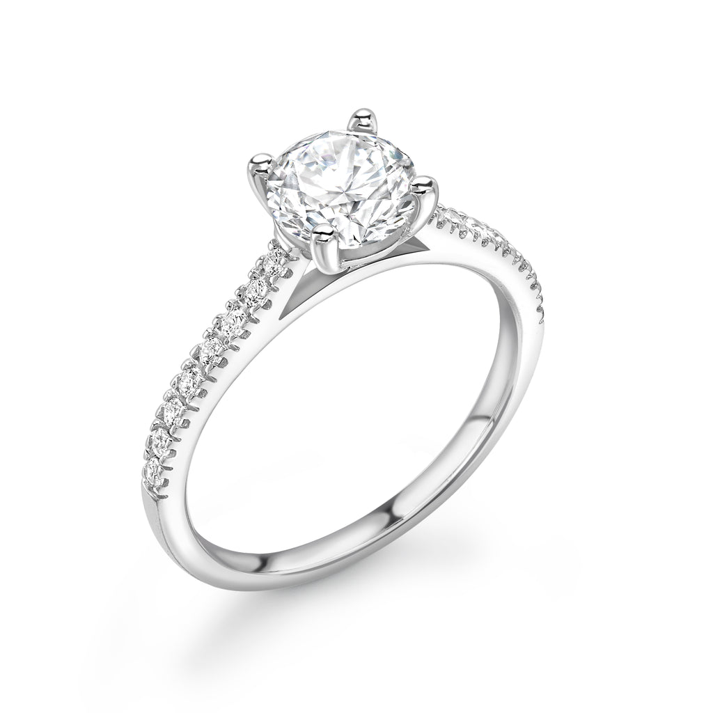 Platinum Diamond 4 Claw Solitaire Ring