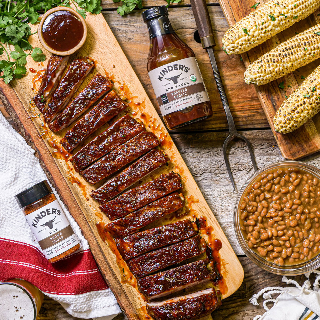 Brown Sugar BBQ Ribs with Organic Roasted Garlic BBQ Sauce