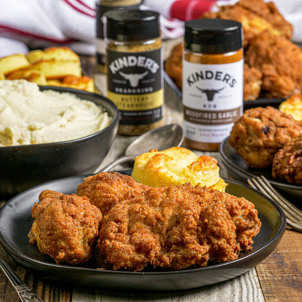 Keto Fried Chicken With Mashed KeToters(Mashed Cauliflower) & Cheesy Keto Biscuits