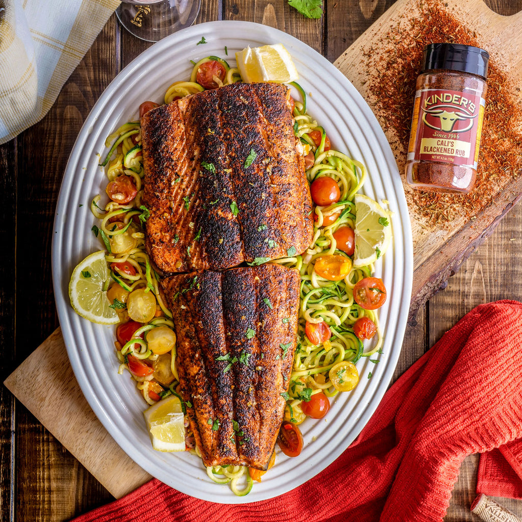 Blackened Salmon Over Zoodles (Zucchini Noodles)