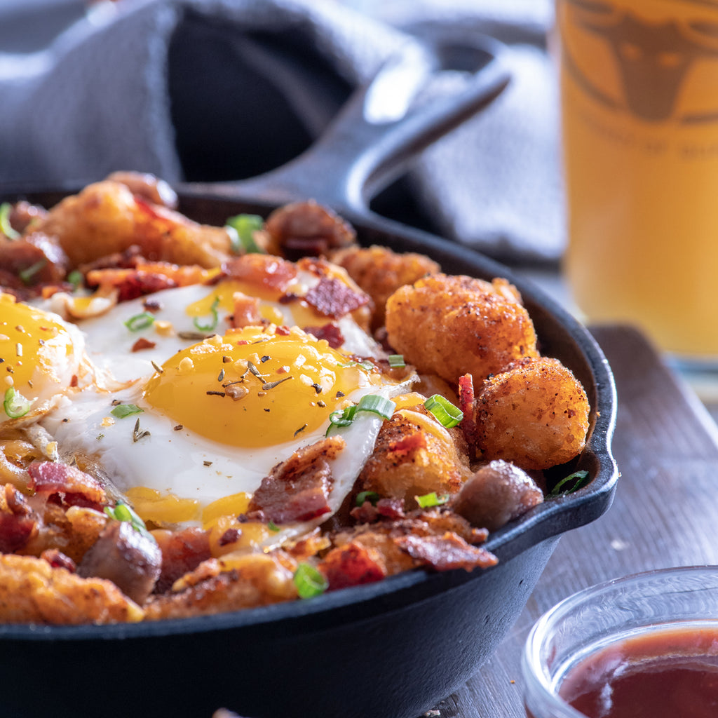 Brown Sugar Tater Tots With Bacon, Sausage & Buttery Eggs