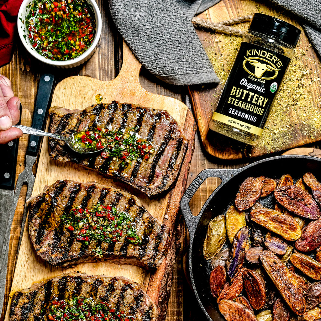 Buttery Steakhouse Seasoned NY Steaks with Chimichurri