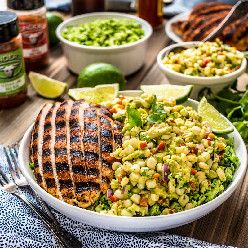 Mild / Tequila Lime BBQ Rubbed Chicken With Avocado Corn Salsa Over Broccoli Rice
