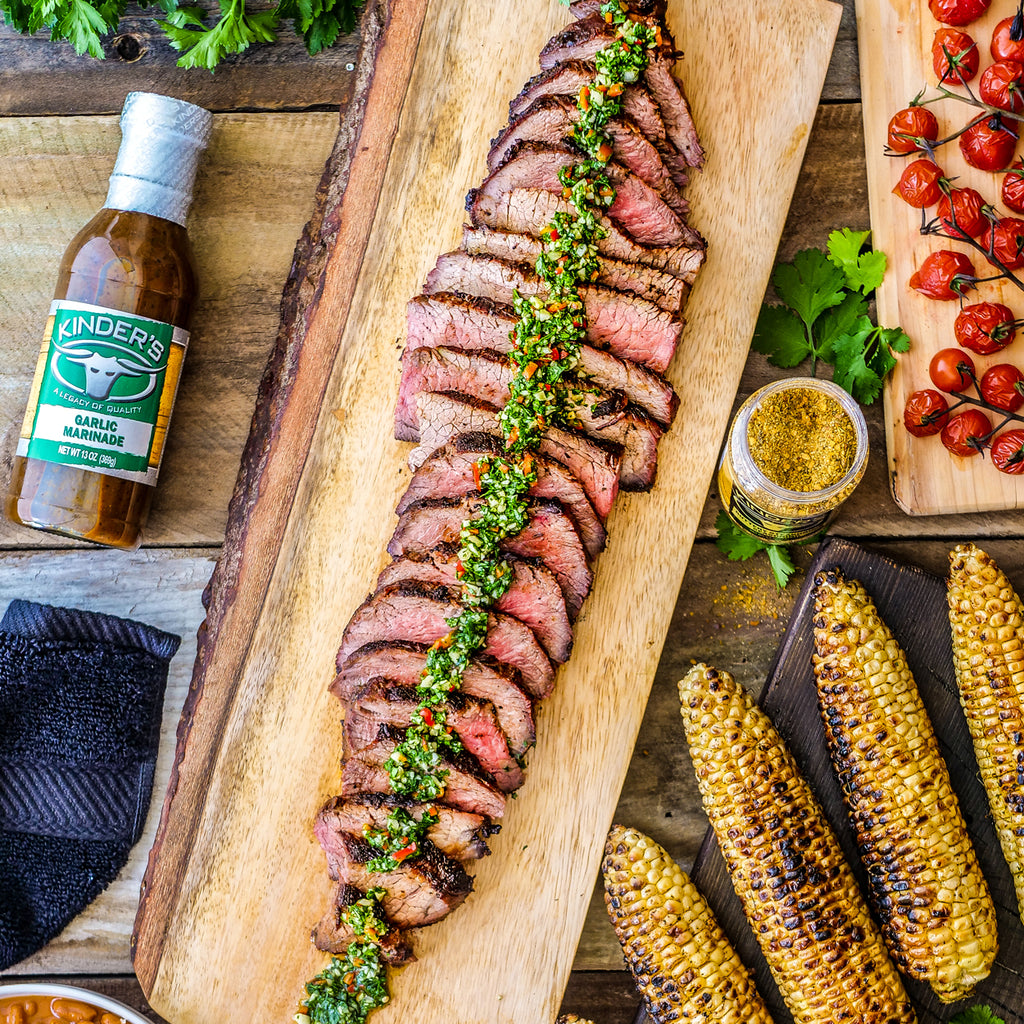 Garlic Marinated Tri-Tip Topped With Chimichurri And Buttery Steakhouse Seasoned Corn