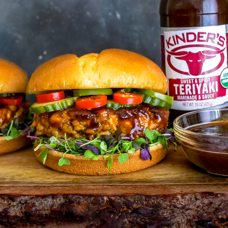 Sweet & Spicy Teriyaki Salmon Burgers With Pickled Cucumbers, Jalapeños & Chili Peppers