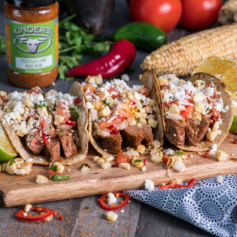 Tequila Lime Carne Asada Tacos With Grilled Corn Salsa