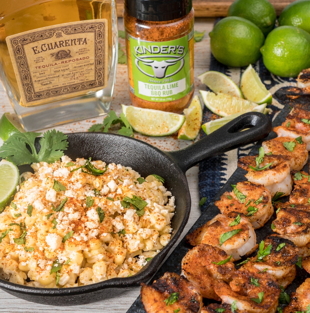 Tequila Lime Grilled Shrimp & Tequila Lime Corn de Elote