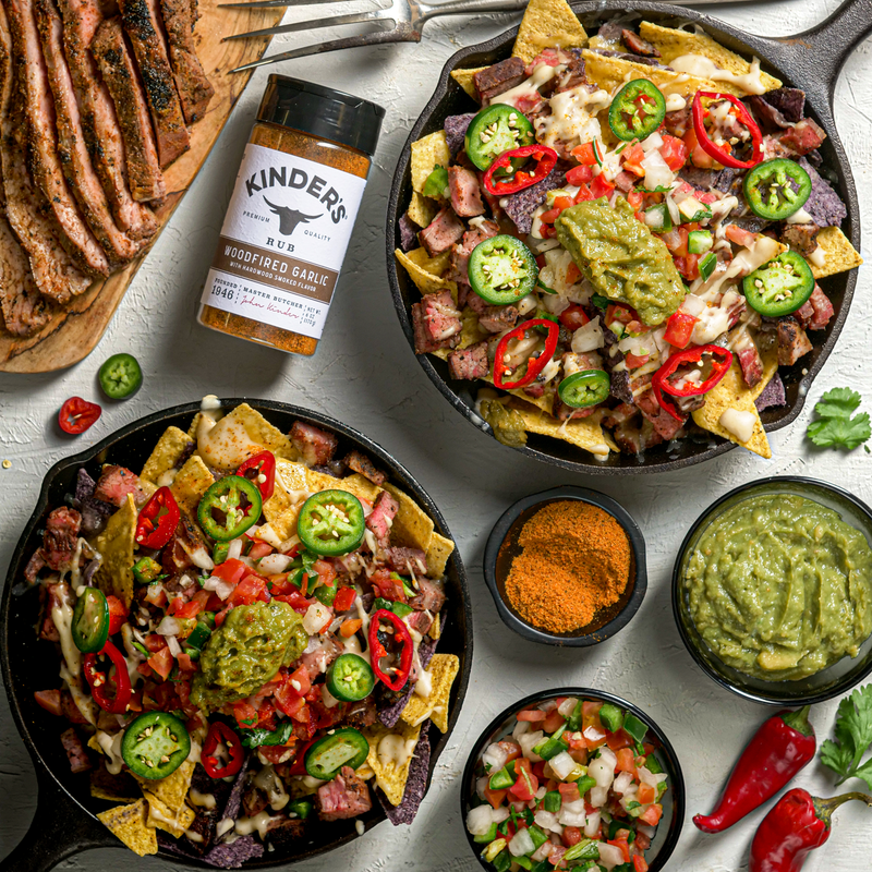 Woodfired Garlic Flank Steak Skillet Nachos with Queso