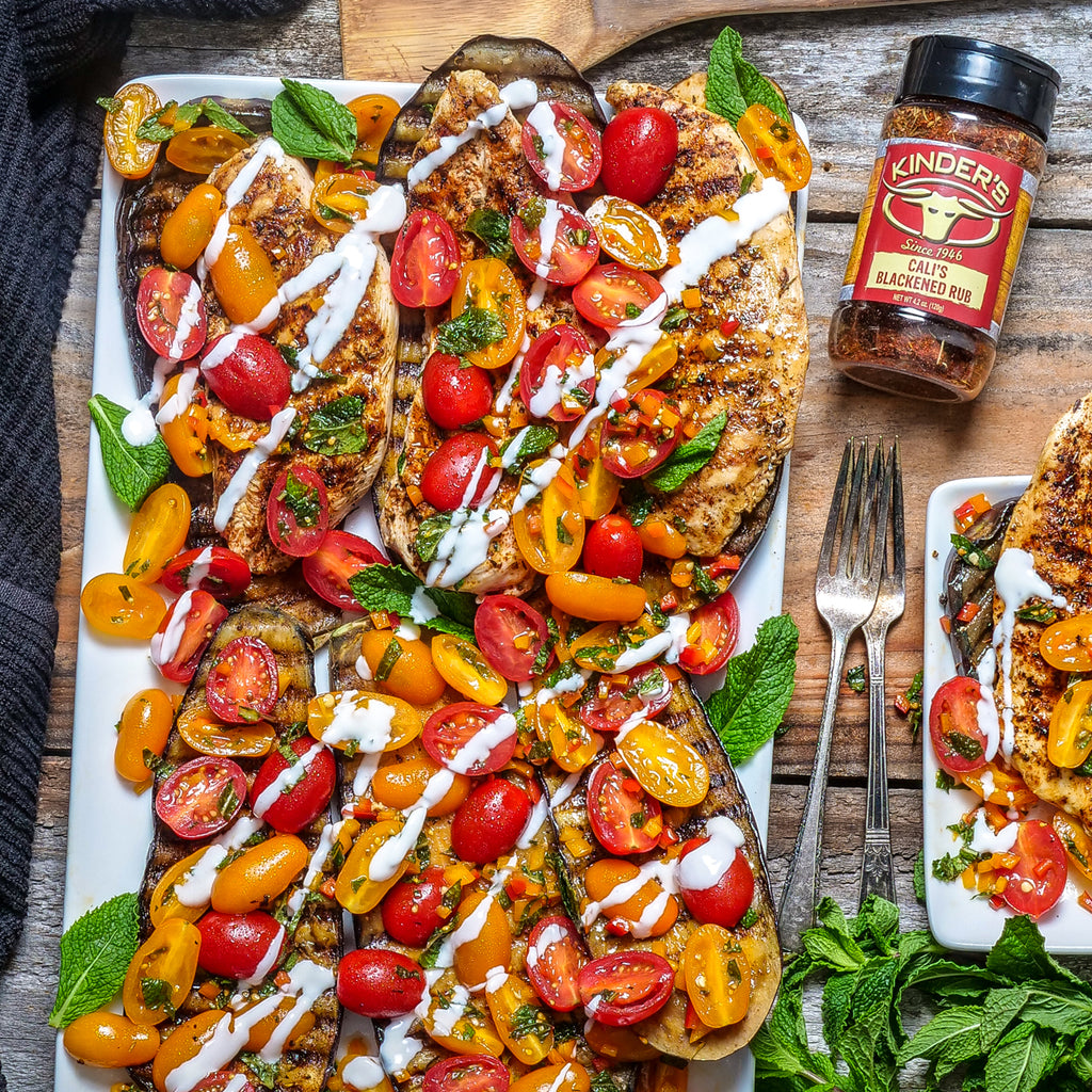 Blackened Grilled Eggplant + Tomato Basil Salad