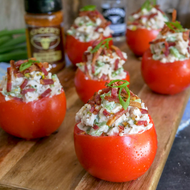 Chicken Salad With Brown Sugar Bacon Stuffed Tomatoes