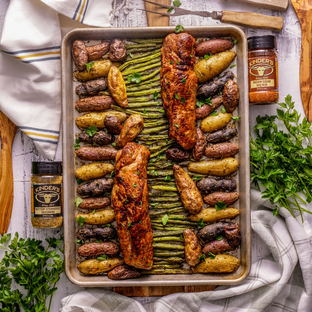 One Pan Brown Sugar Pork Tenderloins With Buttery Roasted Potatoes & Green Beans