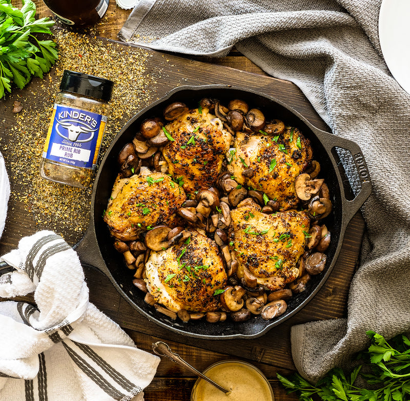Herbed Chicken Thighs & Buttery Mushrooms