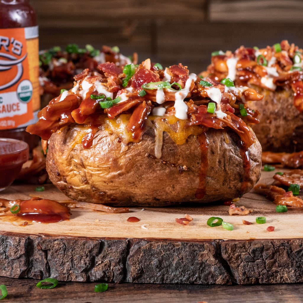 BBQ Pulled Chicken and Bacon Loaded Baked Potato
