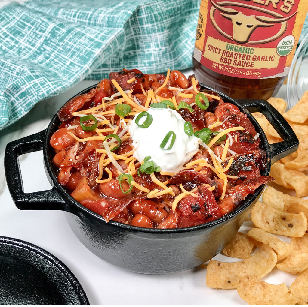 Roasted Garlic Pulled Pork Cowboy Chili