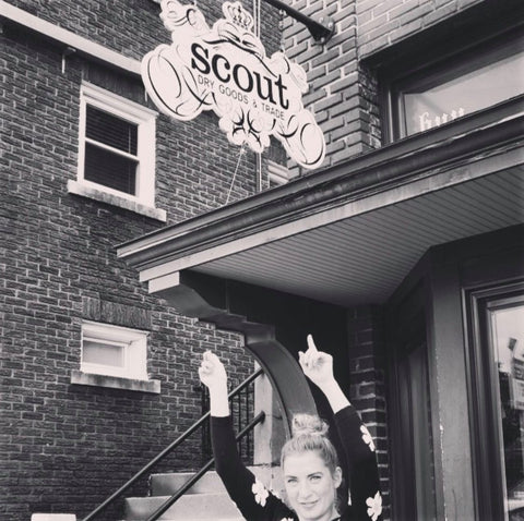 kelly valentine in front of original scout location in omaha ne