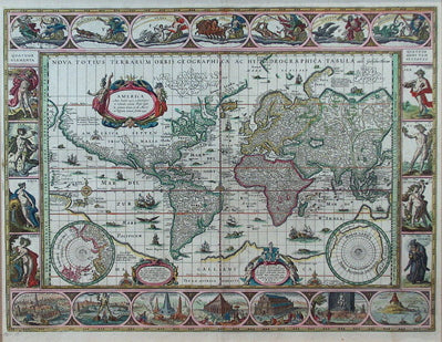 Blaeu World Map.Willem Janszoon Blaeu Carolina Antique Maps Prints
